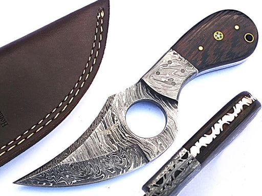 HTS - 11 custom handmade Damascus Skinner Knife / WENGE wood handle / Great quality - HomeTown Knives