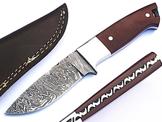 HTS-54 Minimalist Damascus Knife/ Skinner / Hunting / Camping / Full Hollow Ground / Custom / Brown Micarta Handle / Fire Pattern