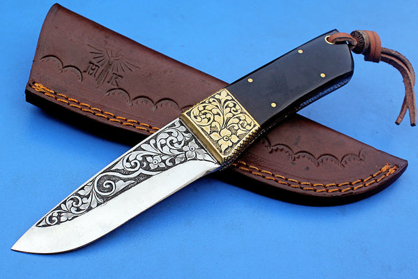 HTK-280 Knife/ Skinner / Hunting / Camping / Hand Made / Custom /Buffalo Horn  Handle / 1095 Steel