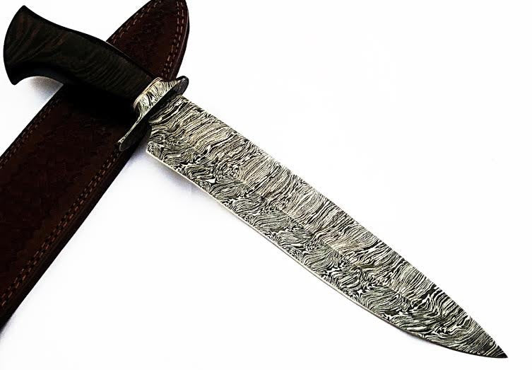 HTS-508  Damascus Knife custom handmade Bowie / WENGE Hardwood Handle / Damascus Fittings - HomeTown Knives