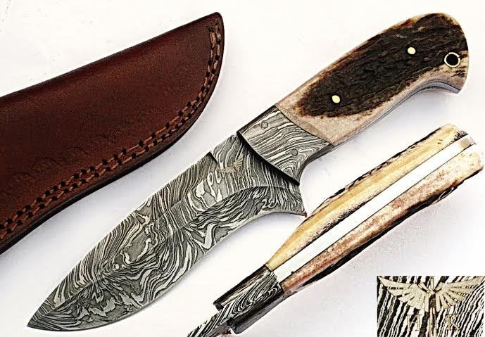 HTS-504  Damascus Knife custom handmade Skinner Knife / Stag Horn / Fire Pattern / Great quality / Camping / Hunting - HomeTown Knives