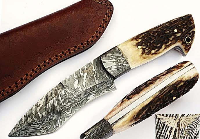 HTS-502  Damascus Knife custom handmade Skinner Knife / Stag Horn / Fire Pattern / Great quality / Camping / Hunting - HomeTown Knives