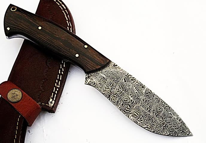 HTS-503  Mosiac Damascus // Custom handmade Skinner Knife / Hardwood Wenge  / Mosiac Pattern // Camping / Hunting / Hollow Grind - HomeTown Knives