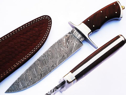 HTS-66 Damascus Handmade Bowie / Dark Brown Handle / Steel Fittings / Well Balanced / Hunter / Camping / Field Use / Bushcraft