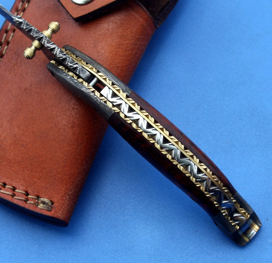HTK-146T / Tanto Navajo Damascus Handmade Folder / Pocket knife / Custom / Rosewood handle / Damascus steel bolster / Liner Lock