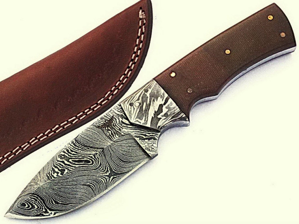 HTS-83 Damascus Utility Knife/ Twist Pattern/ Skinner / Hunting / Camping / Hand Made / Custom / Beautiful Shaded Micarta Handle /