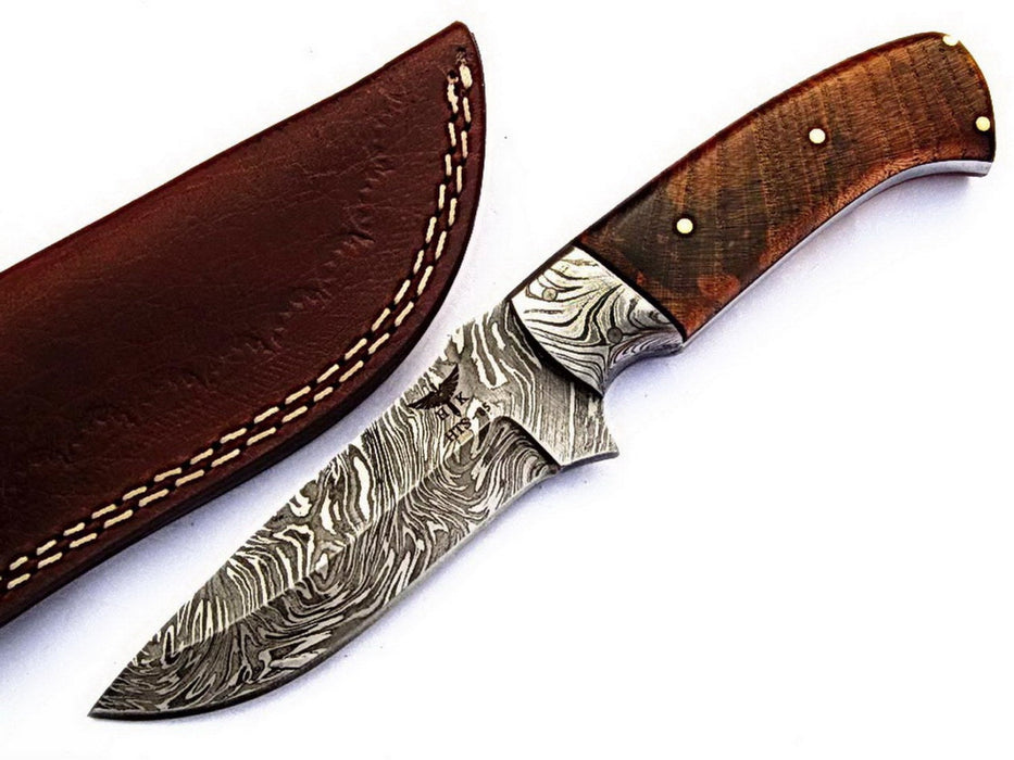 HTS-85Damascus Utility Knife/ Skinner / Hunting / Camping / Hand Made / Custom / EXOTIC HIMALAYAN Wood Handle / - HomeTown Knives