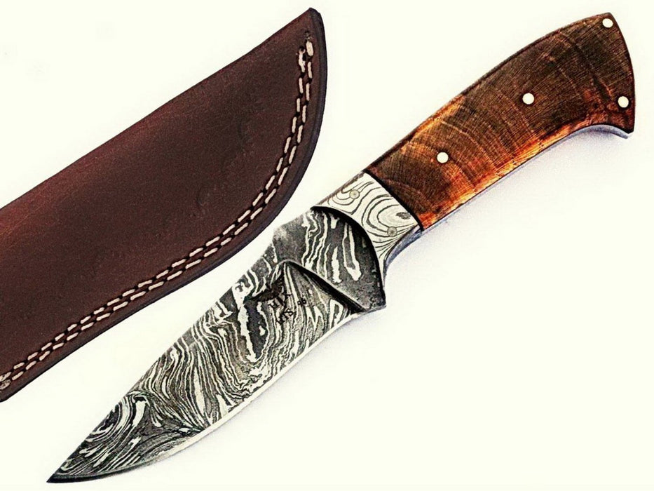 HTS-96 Damascus Utility Knife/ Skinner / Hunting / Camping / Hand Made / Custom / EXOTIC HIMALAYAN Wood Handle / - HomeTown Knives