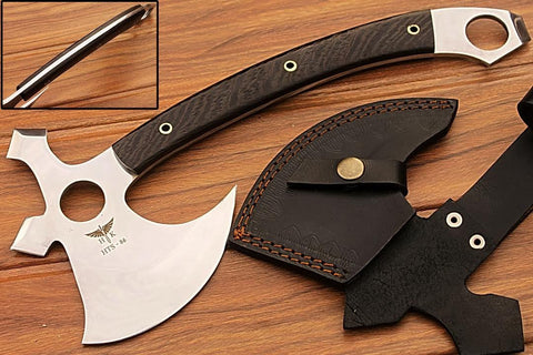 HTS-86 440C MIRROR Polished Handmade Tomahawk - Throwing Axe / Camping / Hunting / Chisel End / Skinner Sweep with Finger hole