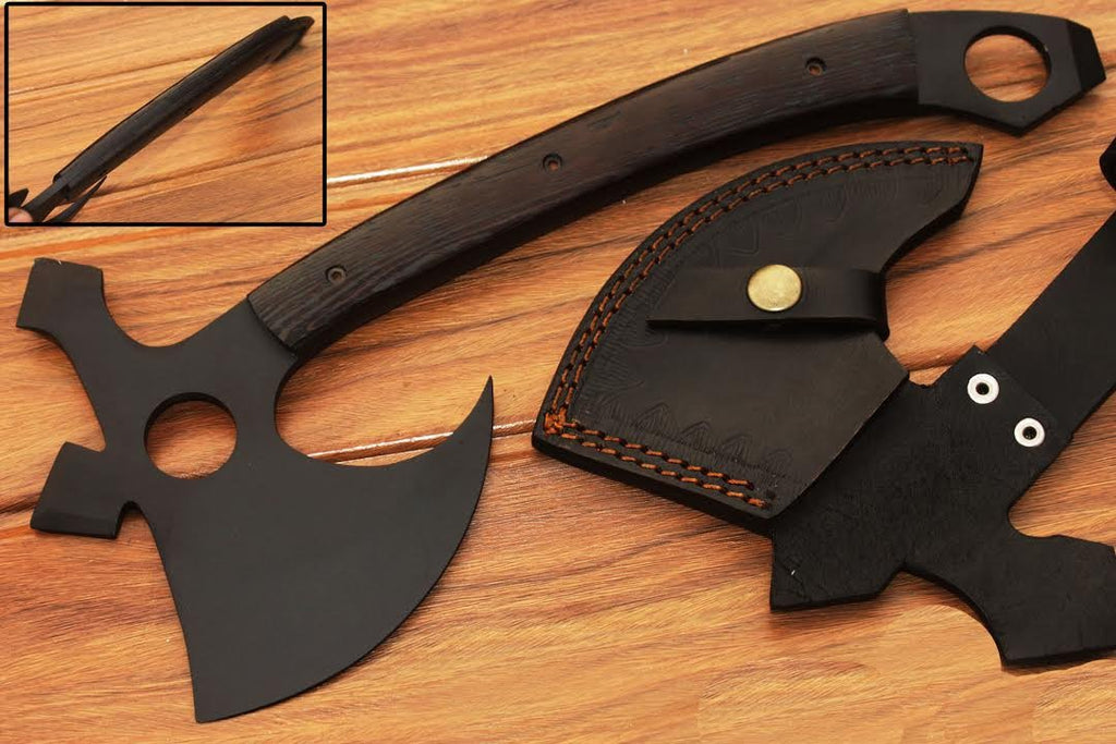 HTS-90 Carbon Black Powder Coated Handmade Tomahawk - Throwing Axe / Camping / Hunting / Chisel End / Skinner Sweep with Finger hole