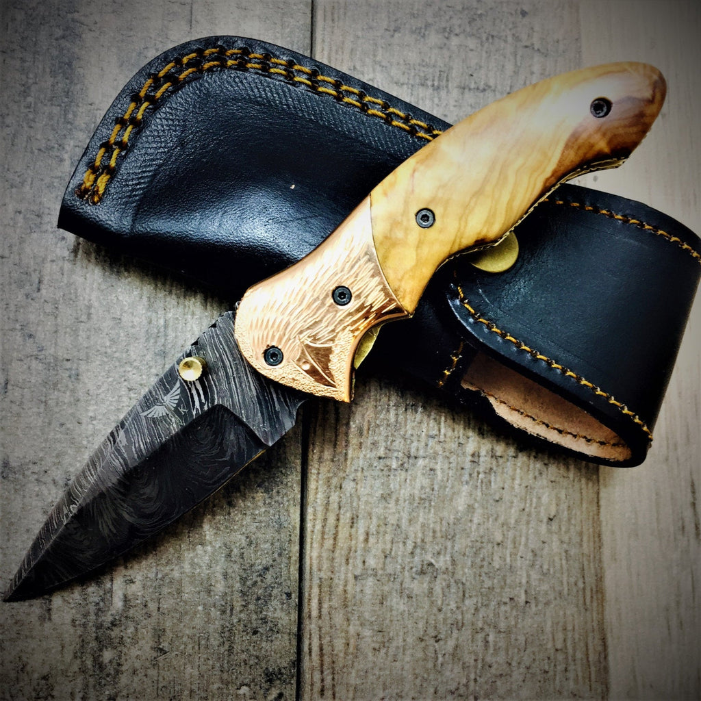 HTS-60c Damascus Folder with Copper Bolster and Engraved Bird / Hand Made / Custom / Olive Wood handle / Liner Lock