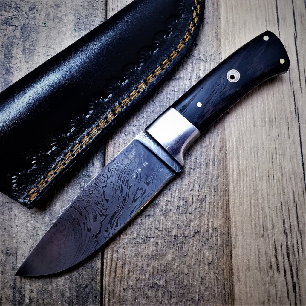 HTS-84 Damascus Fire Hunter // Custom // WENGE Handle // Damascus Fittings Mirror Polish // Camp // Hunting // Full Hollow Grind // SHARP