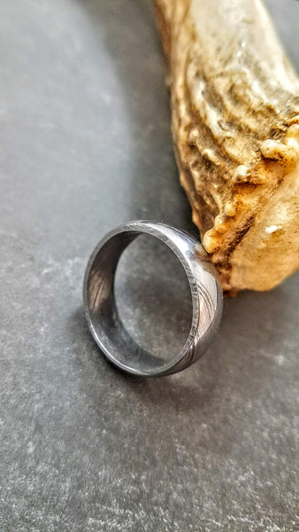 HTU-2 Damascus Ring : Forged & Hand Crafted  - Rounded Center