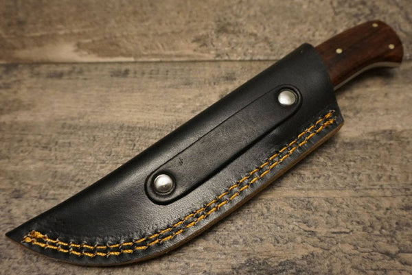 "HTS 84r Paduk Wood Skinner / 3.5"" Blade / Hand Crafted and Hand Forged/ Damascus Steel / Fire Pattern"