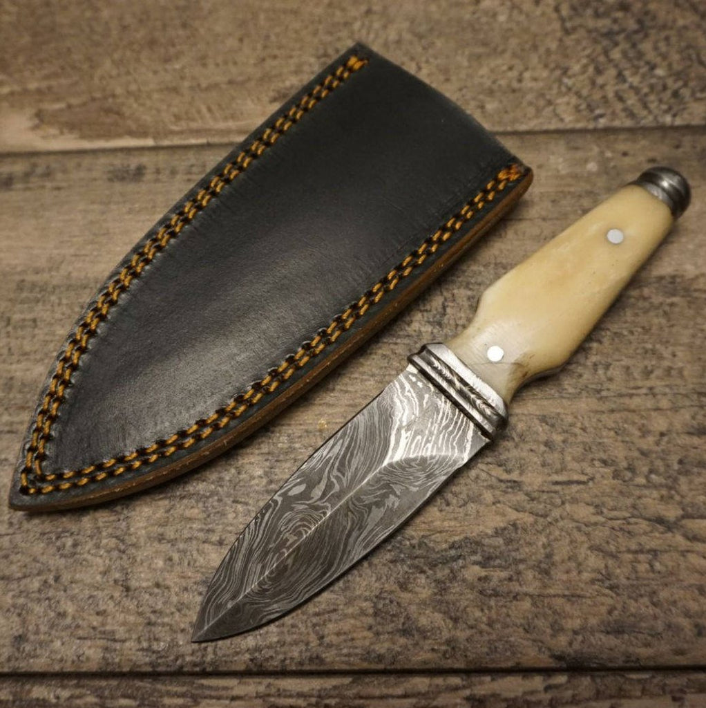 "HTS 400b Bone BOOT KNIFE / 3"" Blade / Hand Crafted and Hand Forged/ Damascus Steel / Fire Pattern / Clip Sheath"