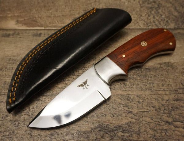 "HTS 440p African Paduk Skinner / 440 Stainless Steel / Mirror Polish / 3.5"" Blade / Hand Crafted - Hand Polished and Fitted"