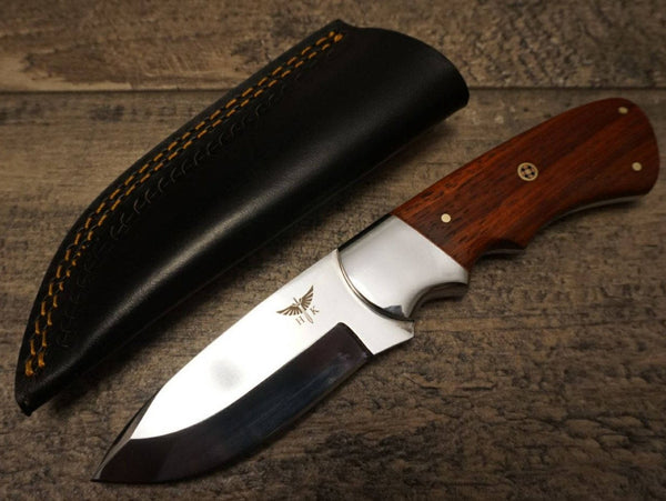 "HTS 442p African Paduk Skinner / 440 Stainless Steel / Mirror Polish / 3.5"" Blade / Hand Crafted - Hand Polished and Fitted"