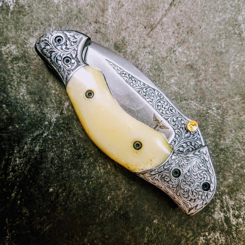 HTS-601 / 440C hand Engraved Folder / High End Art / Handcrafted / Hometown Knives / ONLY 1 on hand