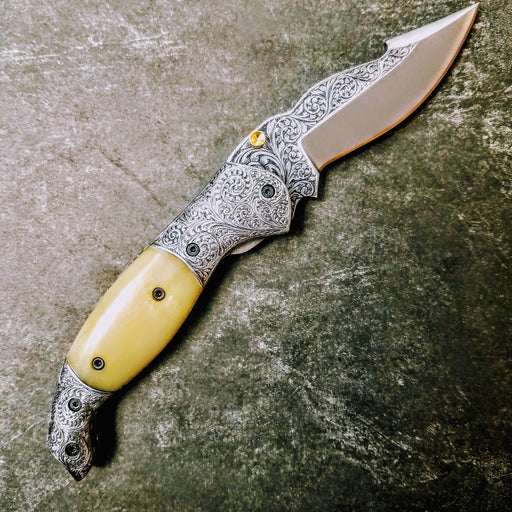 HTS-603 / 440C hand Engraved Folder / High End Art / Handcrafted / Hometown Knives / ONLY 1 on hand - HomeTown Knives