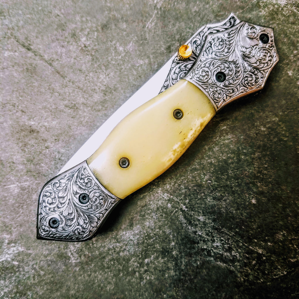 HTS-604 / 440C hand Engraved Folder / High End Art / Handcrafted / Hometown Knives / ONLY 1 on hand