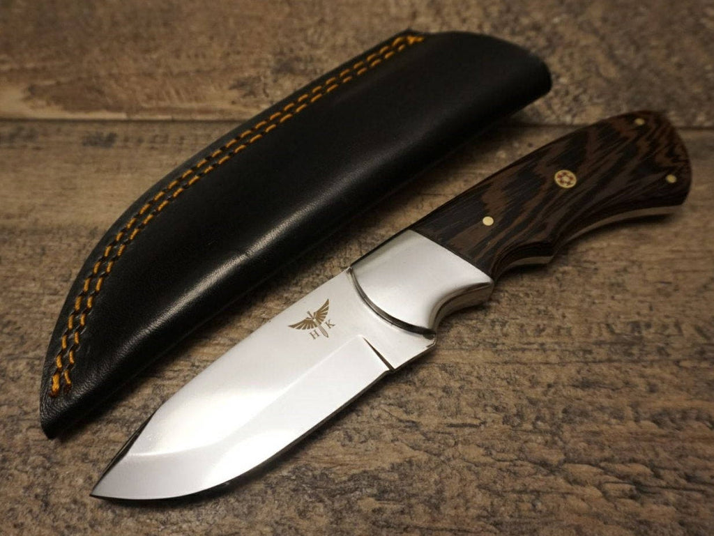 "HTS 442w African WENGE Skinner / 440 Stainless Steel / Mirro Polish / 3.5"" Blade / Hand Crafted - Hand Polished and Fitted / HEFTY"