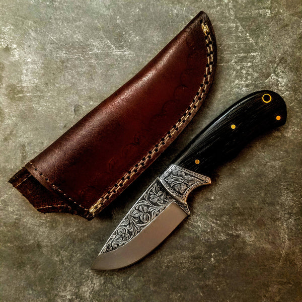 HTS-703 Knife/ Skinner / HAND ENGRAVED /  Hunting / Camping / Hand Made / Custom / Wenge Handle / 440C / High Hardness
