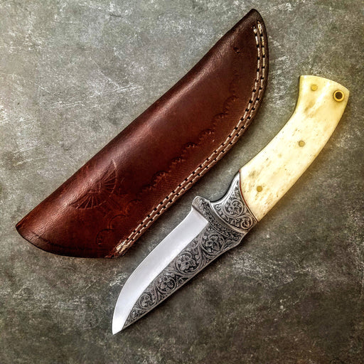 HTS-704 Knife/ Skinner / HAND ENGRAVED /  Hunting / Camping / Hand Made / Custom / Bone Handle / 440C / High Hardness - HomeTown Knives