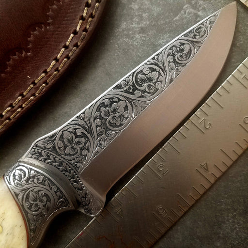 HTS-705 Knife/ Skinner / HAND ENGRAVED /  Hunting / Camping / Hand Made / Custom / Bone Handle / 440C / High Hardness - HomeTown Knives