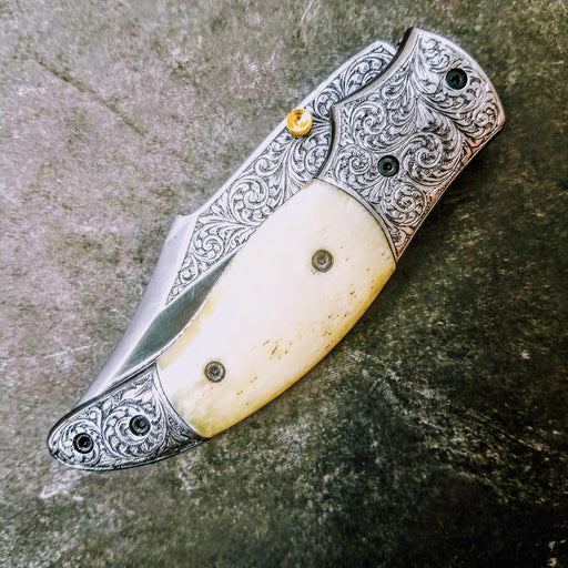 HTS-602 / 440C hand Engraved Folder / High End Art / Handcrafted / Hometown Knives / ONLY 1 on hand - HomeTown Knives
