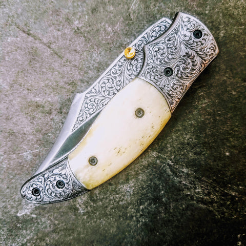 HTS-602 / 440C hand Engraved Folder / High End Art / Handcrafted / Hometown Knives / ONLY 1 on hand