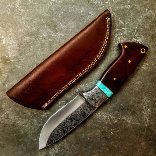 HTS-702 Knife/ Skinner / HAND ENGRAVED /  Hunting / Camping / Hand Made / Custom / Mahogany Handle / 440C / High Hardness - HomeTown Knives