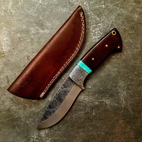 HTS-702 Knife/ Skinner / HAND ENGRAVED /  Hunting / Camping / Hand Made / Custom / Mahogany Handle / 440C / High Hardness