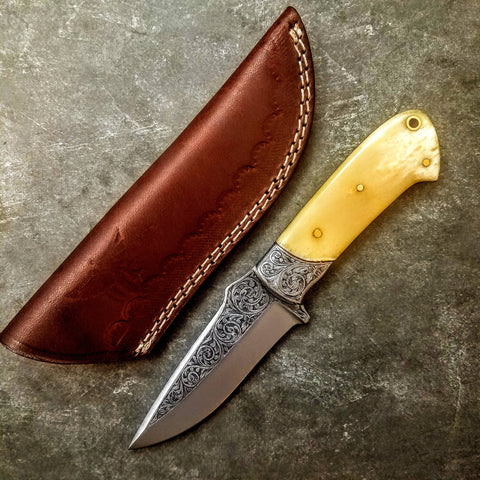 HTS-705 Knife/ Skinner / HAND ENGRAVED /  Hunting / Camping / Hand Made / Custom / Bone Handle / 440C / High Hardness