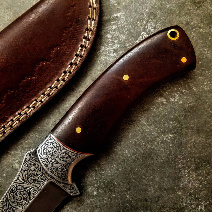 HTS-706 Knife/ Skinner / HAND ENGRAVED /  Hunting / Camping / Hand Made / Custom / Bone Handle / 440C / High Hardness - HomeTown Knives