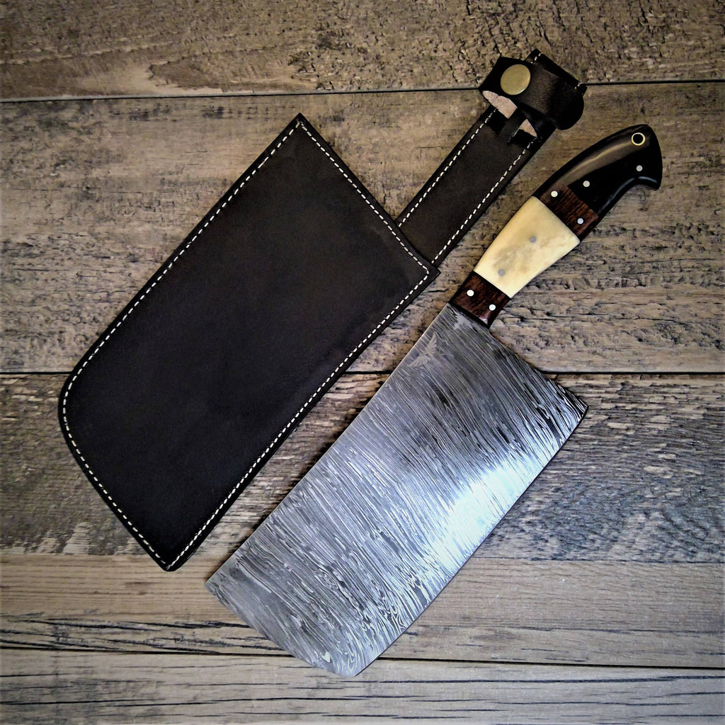 HTS-502 Thick Meat Cleaver Damascus / Kitchen/ Handmade / Custom / Forged / Hand File Spine / Heafty