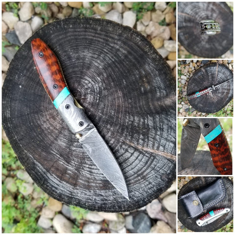 HTS-800 Damascus Drop Point / Leopard Snake Wood / Turquoise Inlay / Folder / Special Series / Hand crafted /