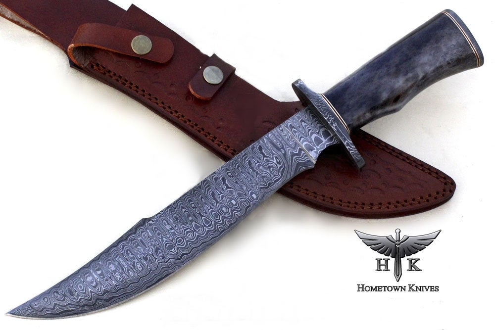 Hand Made Damascus Steel Fixed Blade Hunting Knife,Warren 7 Length OW17F-42 Camel And Buffalo Handle