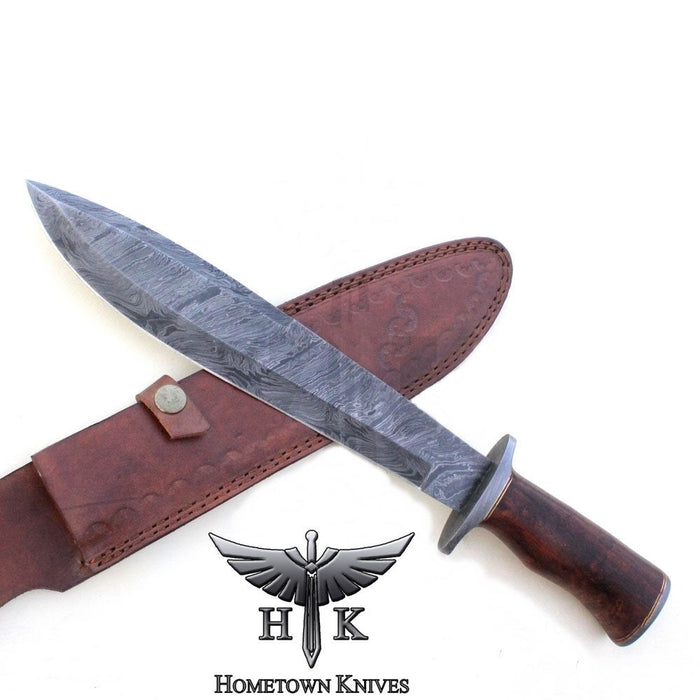 HTK-1066 Handmade Damascus Steel Hunting Bowie Knife Fire Storm Pattern Blade Rose Wood Handle