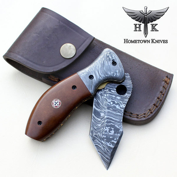 HTK-0068 Damascus Folder / Hand Made / Custom / G10  handle / Damascus steel bolster / Liner Lock
