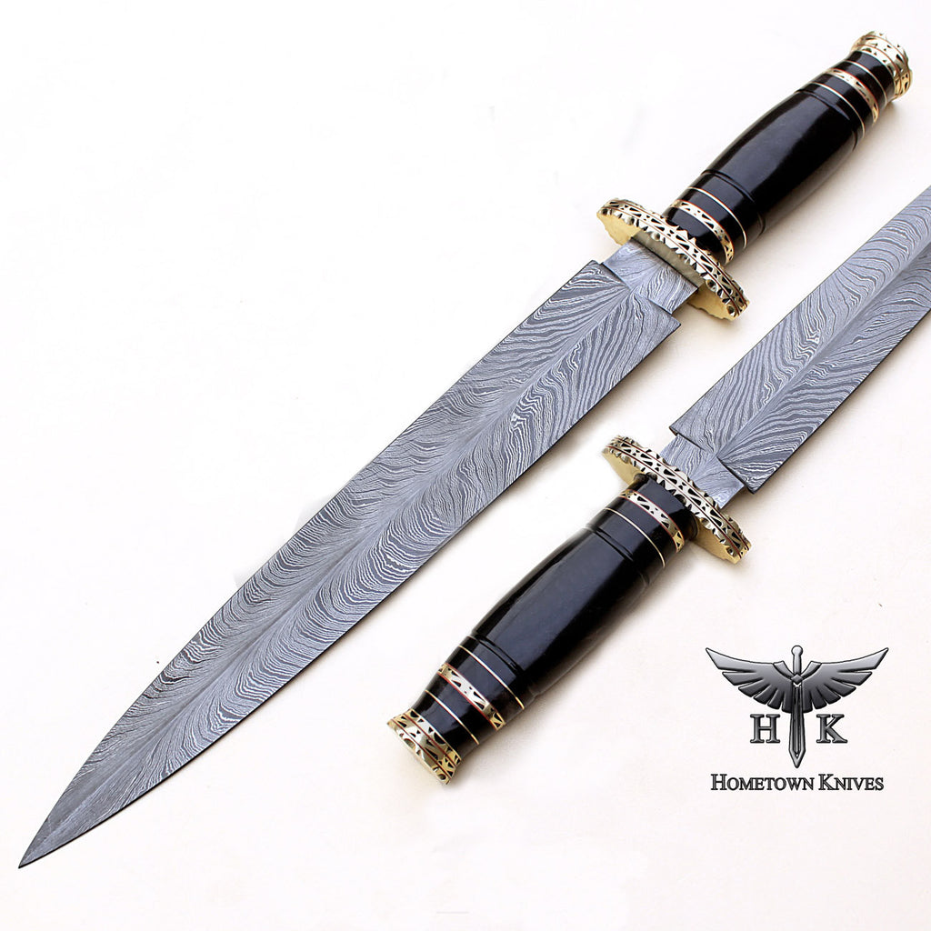 HTB-0084 Handmade Damascus Steel Hunting Dagger Knife Feather Pattern Blade Buffalo Horn Handle