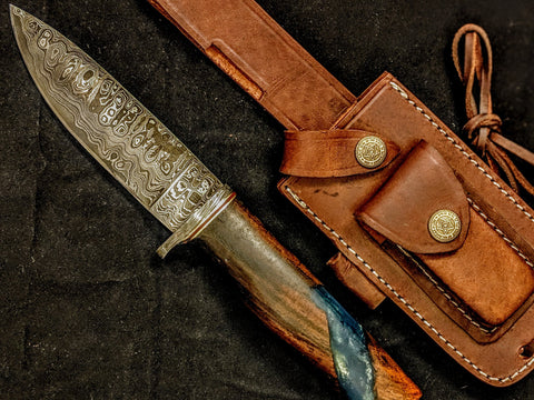 HT-21B  Damascus Knife custom handmade  Skinner / Sanmai / Rose Wood w/ Blue Resin Handle / Camping / Hunting