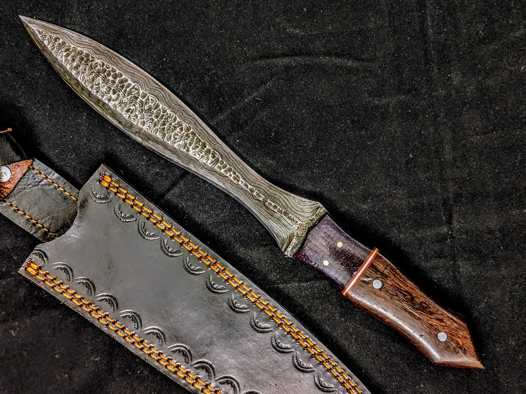 HTB-8  HANDFORGED Damascus DAGGER Knife / Walnut & Micarta Handle / Camping / Hunting Game / Throwing Knife