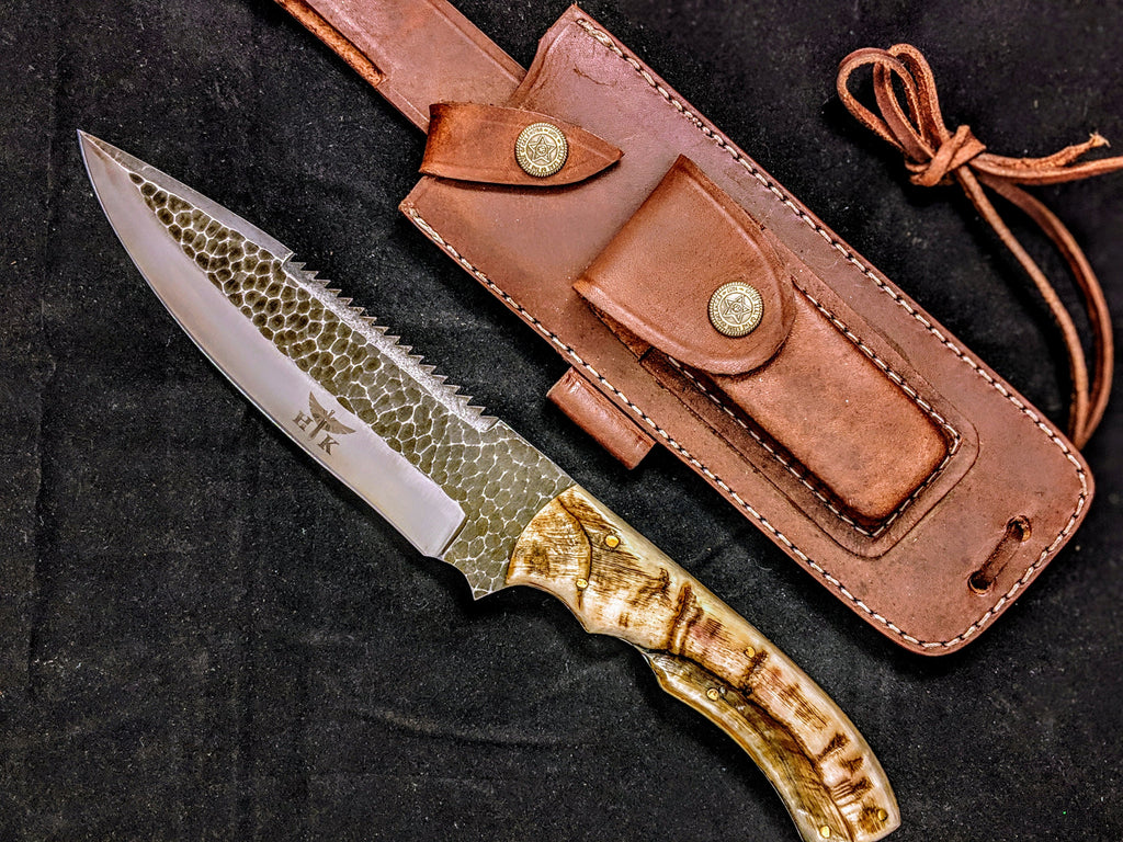 HTB-10  HANDFORGED D2 Bowie Hunter Knife with SAW / Ram Horn Handle / Camping / Hunting Game / Throwing Knife