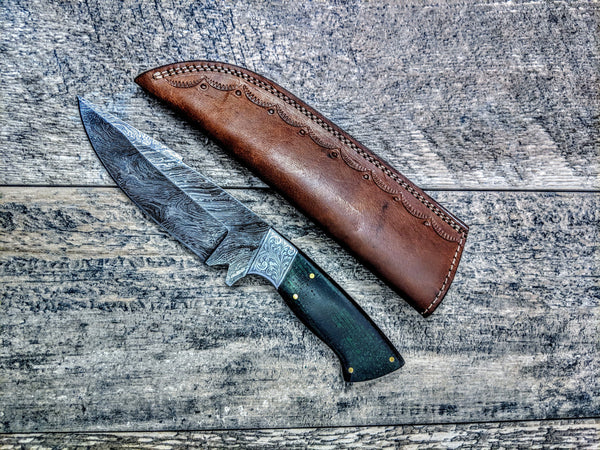 HTSE-3 / Damascus Skinner / HAND METAL Engraved Bolster / Exceptional Art / Hometown Knives / Metal Engraving