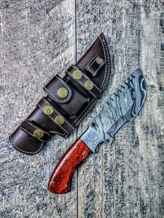HTSE-12 / Damascus Tracker / HAND ENGRAVED Bolster / Exceptional Art / Hometown Knives / Metal Engraving
