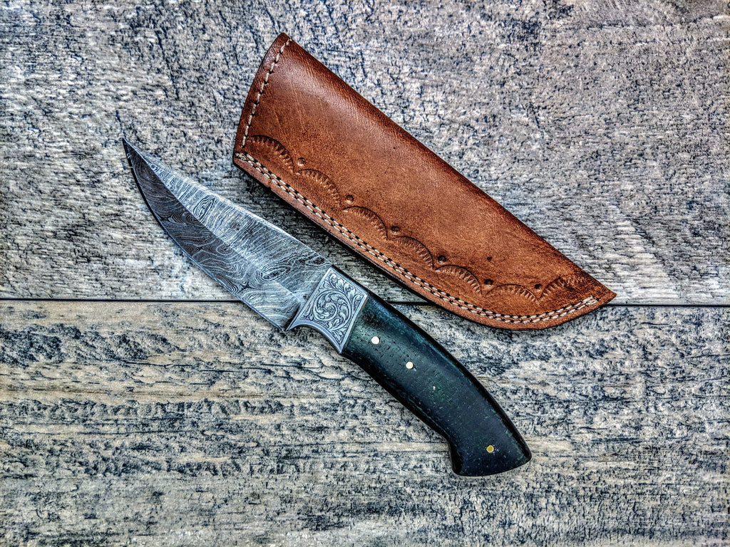 HTSE-15 / Damascus Skinner / HAND ENGRAVED Bolster / Exceptional Art / Hometown Knives / Metal Engraving
