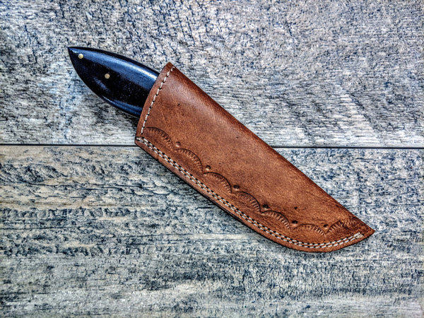 HTSE-20 / Damascus Skinner / HAND ENGRAVED Bolster / Exceptional Art / Hometown Knives / Metal Engraving