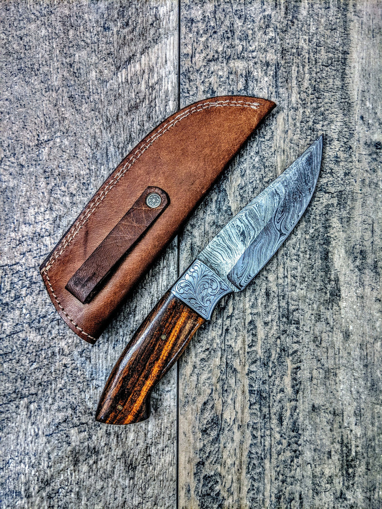 HTSE-24 / Damascus Skinner / HAND ENGRAVED Bolster / Exceptional Art / Hometown Knives / Metal Engraving