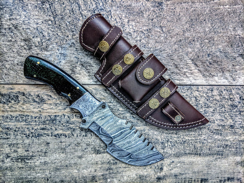 HTSE-11 / Damascus Tracker / HAND ENGRAVED Bolster / Exceptional Art / Hometown Knives / Metal Engraving