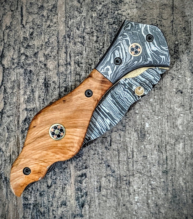 HTM-10 Damascus Pocket Knife / Tanto Folder / Olive Wood /  File Artwork / Handcrafted / Hometown Knives